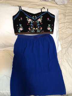Crop top and maxi skirt h&m