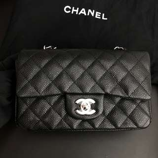 Chanel A69900 20cm Mini cf 黑色牛皮銀鍊