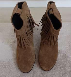 Ankle Boots Bahan Suede ( Warna Coklat kehijauan)