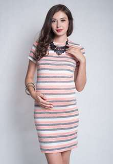 Jump Eat Cry Stripes Knitted Maternity / Nursing Dress