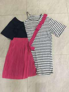 Kaos blouse navy garis pink ribbon pita ruffle long
