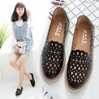 Women Breathable Loafers Wild Retro Trend Working Shoes Ladies Plus Size Flats [Pink/Beige/Black/White]
