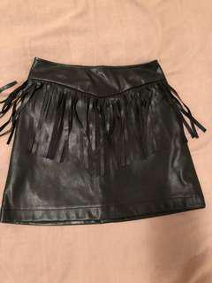 Fringed pleather skirt s8/10