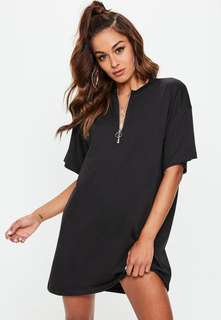 NWT MISSGUIDED OVERSIZE ZIP FRONT TSHIRT DRESS