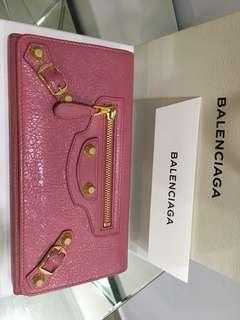 AUTHENTIC Balenciaga Giant Gold Money Wallet(Rose Hortensia)