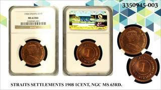 Straits Settlements King Edward VII 1908 1 Cent