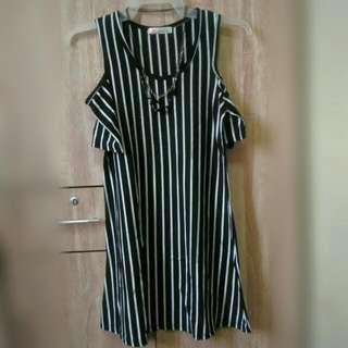 Bare Shoulder Striped Dress