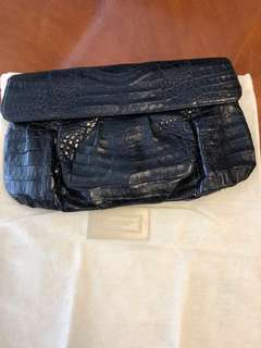 Nancy Gonzales Black Crocodile Clutch