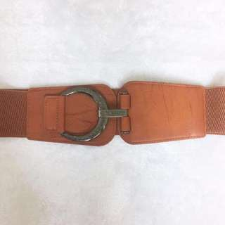 Brown Metal Clasp Thick Belt #July70