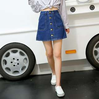 🚚 牛仔排釦短裙 #女裝半價拉