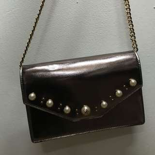 Japanese brand - Metallic silver gold chain bag clutch party