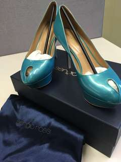 Sergio Rossi peep toe platform pump 36.5 size made in Italy patent leather light blue