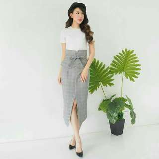 Zara checked highwaist slit skirt