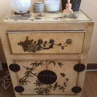 Antique oriental bedside cabinet