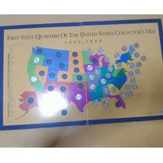 United States First State Quarter Coins Collectors Map