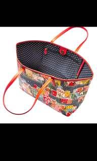 💕母親節推介🎁💕半價真牛皮leather trim tote bag (BIG SIZE) CATH  KIDSTON