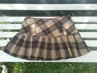 Brown Tartan Mini Skirt