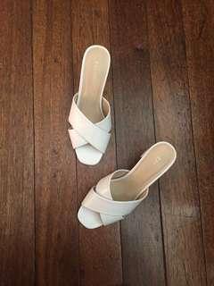 Block heel white slides