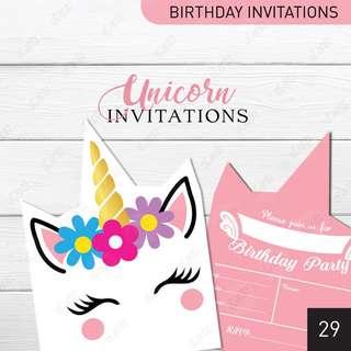 [D29] Unicorn-shaped Birthday Invitation Cards for Girls