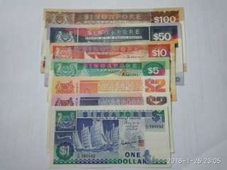 Singapore old ship note with $1 $2 $2 $5 $10 $50 n $100