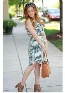Mid-length Stripe Dress with Belt