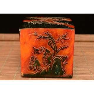 山水風景五面紋印章 文房具聖品 壽山石雕刻