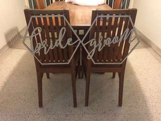 Bride & Groom Chair Sign