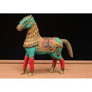 策馬奔騰 駿馬擺件 銅胎鑲嵌紅綠松石貴石 舊藏初出