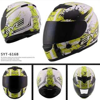 White with Green Designs Full Face Motorcycle Helmet Bike