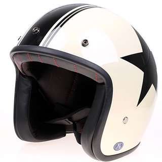 Cream Beige Off White with Black Stripe and Star Motorcycle Helmet Open Face Three Button Snap Retro Vintage Vespa Scooter Cafe Racer Motorbike Leather Gloss Old School