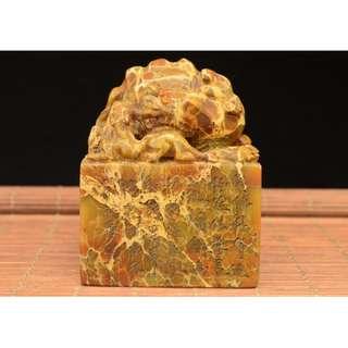 母子獸印章 不規則壽山石雕刻 友人家中舊藏品