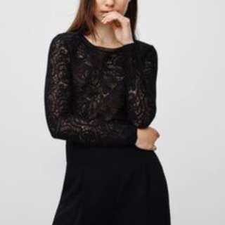 Aritzia Wilfred Black Lace Crop long sleeve top size XS