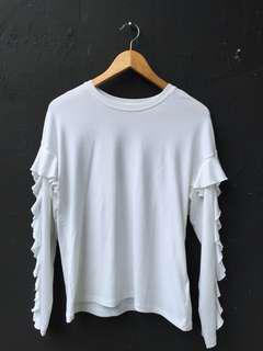H&M White Ruffled Sleeve Top