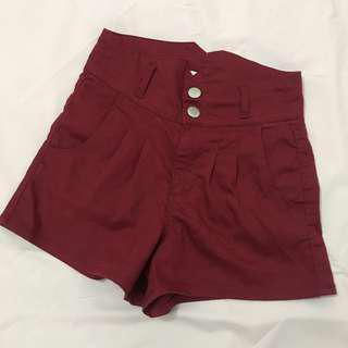 Maroon High Waist Shorts