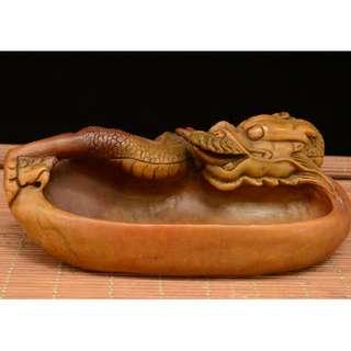 【龍戯水】筆洗 文房具祥瑞物 早期入手 壽山石雕刻
