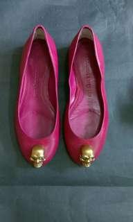 Alexander McQueen紫粉紅色經典骷髏圖案圓頭平底鞋