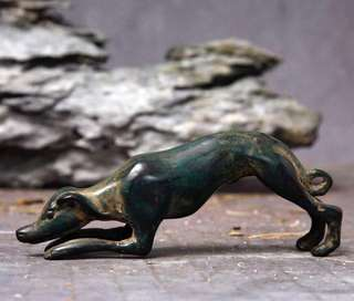 日本老銅制小犬形置物