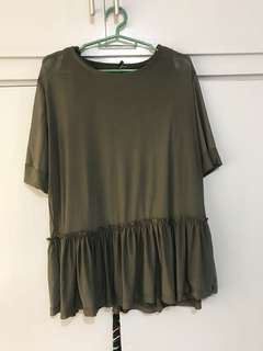 Army green peplum