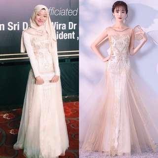 Champagne Sequin Long Gown Wedding Evening Dinner Dress / Wedding/ Bridesmaid Dress /Dress Nikah/ Maxi Dress / Prom Dress (Rent)