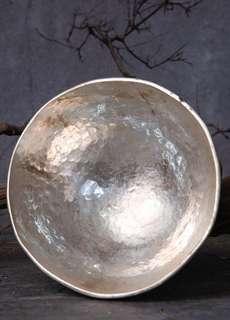 日本老白銅鍍銀果子器