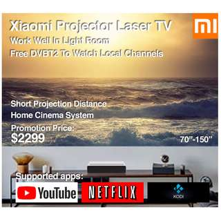 "Xiaomi Laser Projector TV 4k 70""-150"" Build in Mitv Box (Ready Stock) Free Local Channels"