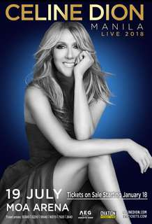 Celine Dion Live 2018 Manila 1Genad ticket - Day 1 Jul19