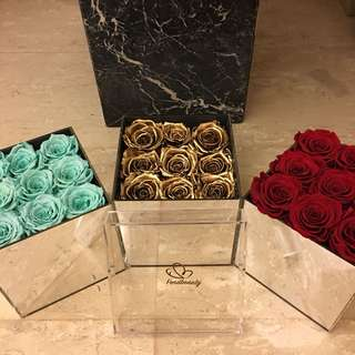 Gifts / presents / flowers / preserved rose / Tiffany blue / gold / red