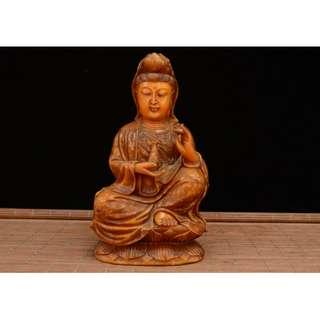 【滴水觀音】 供奉佛像 壽山石細密雕刻 家中供奉