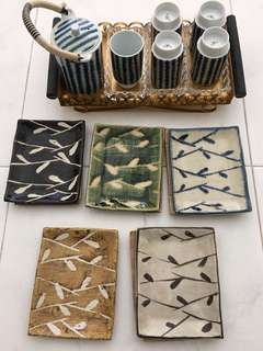 Vintage Ceramic tea set with tray and dessert saucers
