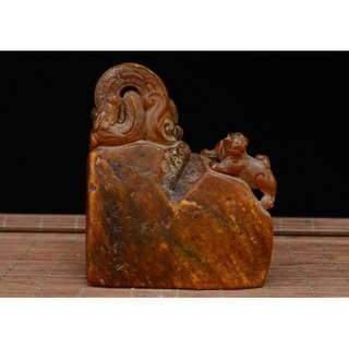 昇龍錢幣紋印章 招財靈獸 壽山石精雕 友人寄賣