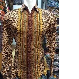 Kemeja Batik Coklat Semisutra