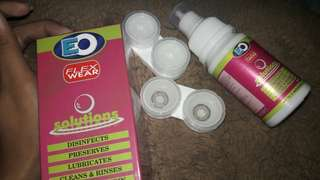 EO contact lens with solution