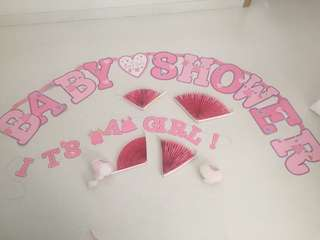 Baby shower baby girl banner and decorations