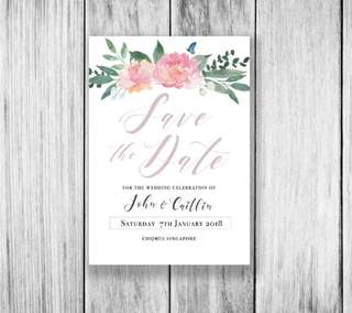 Watercolour floral Save the Date - Digital file only